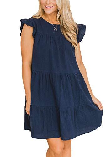 IHOT Womens Summer Casual Babydoll Mini Dress Ruffle Sleeve Round Neck Loose Flowy Swing Short Pleated Tunic Dresses Navy Medium