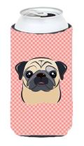 Caroline's Treasures BB1262TBC Checkerboard Pink Fawn Pug Tall Boy Beverage Insulator Hugger, Tall Boy, multicolor
