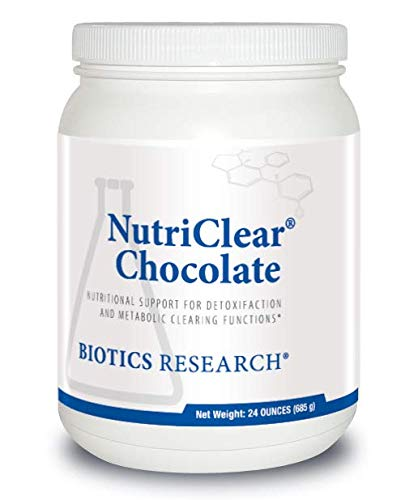 Biotics Research NutriClear® Chocolate –Chocolate Powder. Nutritional Support for Detoxification and Metabolic Clearing. Healthy Weight. Glutathione. NAC. 17 g Organic Pea Protein Per Serving 24 Oz