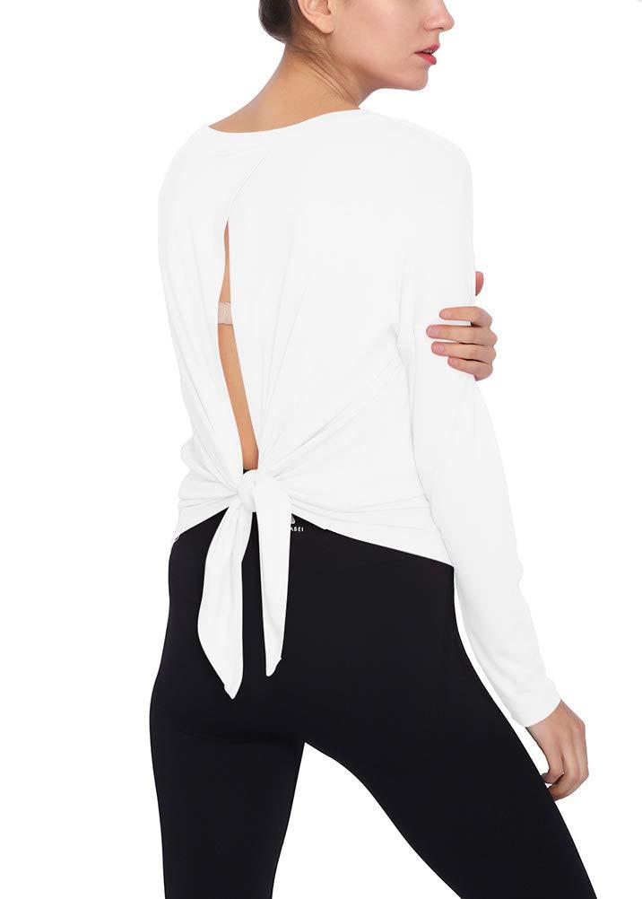 Mippo Womens Workout Yoga Top Long Sleeve Loose Open Back Tie Back Shirt Sweatshirt