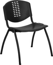Flash Furniture HERCULES Series 880 lb. Capacity Black Plastic Stack Chair with Oval Cutout Back and Black Frame