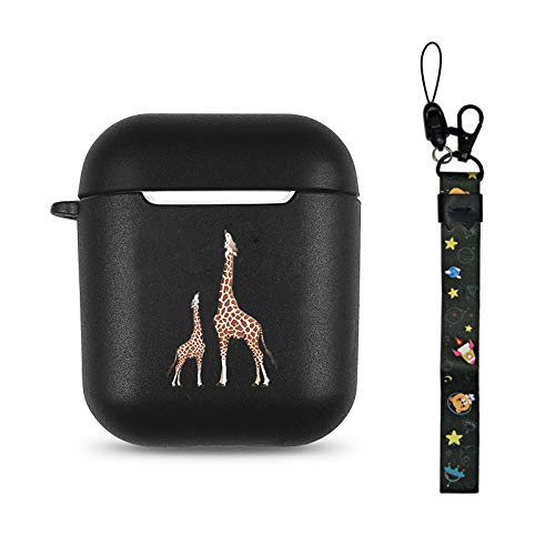 Giraffe Black Soft TPU Case Frosted Protective Cover Anti Fingerprints Compatible with AirPods 2 & 1 with Wristlet Strap