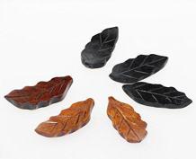 Islandoffer Handcrafted Wooden Chopstick Rest Spoon Fork Knife Holder leaf Designed, Set of 6