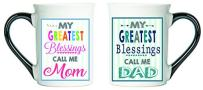 Cottage Creek Mom Dad Gifts Set of Two Coffee Mugs for Mom and Dad/Parent Gifts Christian Gifts Blessed Mom Mug Blessed Dad Mug [White]