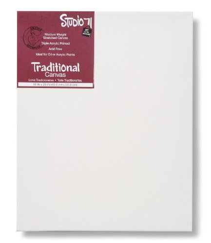 """Studio 71 Medium Weight Traditional Stretched Canvas – 16"""" x 20"""" Painting Canvas for Oil or Acrylic Paints, Triple Acrylic Primed Wood Frame Canvas, Acid-Free"""