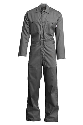 Lapco FR CVEFR7GY-3XL TL Flame Resistant Economy Coveralls, 100% Cotton Twill with Moisture Management, HRC 2, NFPA 70E, 7 oz, 3X-Large Tall, Gray