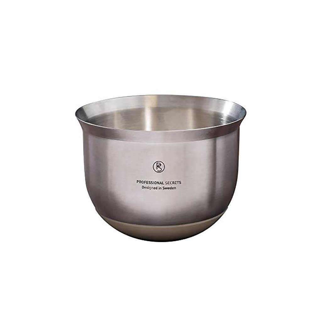 Professional Secrets Designed in Sweden Stainless Steel Nesting Mixing Bowls - Sturdy Grip with Silicon Base (2.6 Qt)