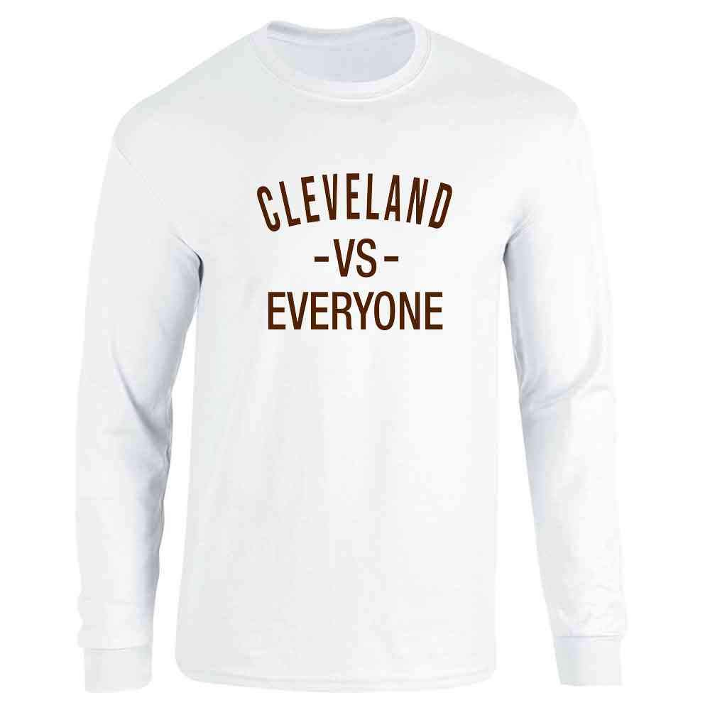 Pop Threads Cleveland vs Everyone Ohio Sports Fan Full Long Sleeve Tee T-Shirt