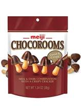 Meiji Chocorooms Crispy Crackers, Chocolate - 1.34 oz, Pack of 8 - Bite Sized Crackers in Fun Mushroom Shapes