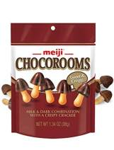 Meiji Chocorooms Crispy Crackers, Chocolate - 1.34 oz, Pack of 8 - Bite Sized Crackers in Fun Mushroom Shapes