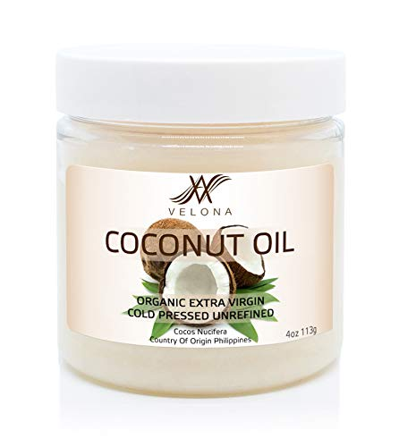 100% Natural Coconut Oil by Velona | All Natural Clear Carrier Oil for Face, Hair, Body and Skin Care | Extra Virgin, Expeller Pressed | in jar | Size: 4 oz