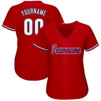 Personalized Women's Short-Sleeve Button-Down Baseball/Softball Jersey Stitched&Printed Custom Team Uniforms S