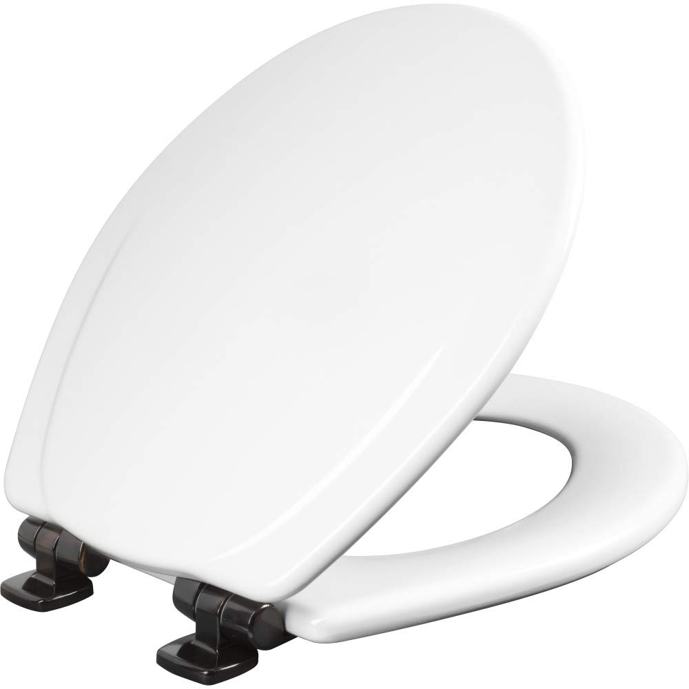 MAYFAIR 30ORSL 000 Toilet Seat with Oil-Rubbed Bronze Hinges will Slow Close and Never Come Loose, ROUND, Durable Enameled Wood, White