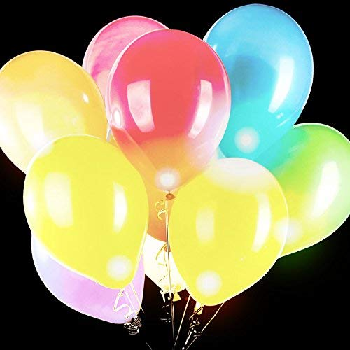 Fun Central 5 Pieces - 14 Inches LED Light Up Blinky Balloons - Decorations for Weddings, Parties & Events - Multicolor