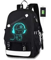 Luminous Backpack For Boys,Lumcissy Anime School Bag with USB Charging Port and Anti-theft Lock,Unisex Fashion Black Daypack,Travel Laptop Backpack