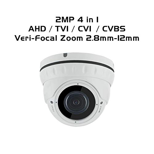 Ares Vision 2MP 4 in 1 AHD/TVI/CVI/Analog Dome Veri-Focal 2.8-12mm Wide Angle Lens Camera, Indoor/Outdoor w/IR Night Vision