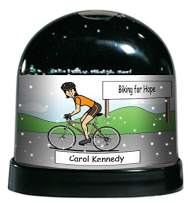 PrintedPerfection.com Personalized NTT Cartoon Caricature Snow Globe Gift: Cyclist, Bicyclist, Bike Rider Female