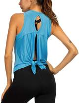 Workout Clothes for Women Sexy Open Back Yoga Tops Tie Knot Back Muscle Tank Sleeveless Hiking Running Shirts Blue S
