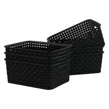 Kiddream Set of 6 Plastic Weave Storage Basket Pantry Organizing Bin