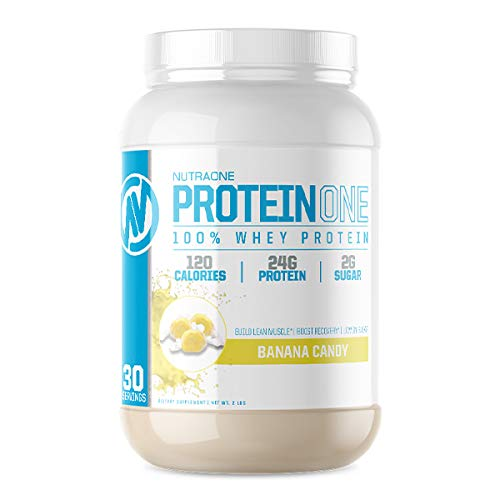 ProteinOne Whey Protein Powder by NutraOne – Non-GMO and Amino Acid Free Protein Powder (Banana Candy - 2 lbs.)