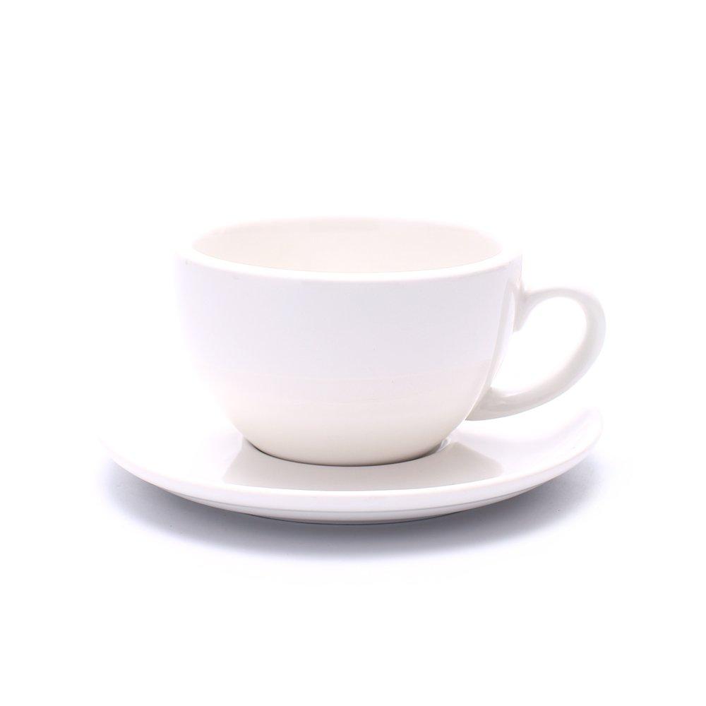 Coffeezone Cappuccino Barista Cup and Saucer Latte Art & Americano, New Bone China Coffee Shop Use (Glossy White, 8.5 oz)