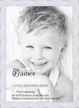 ArtToFrames 17x24 inch Weathered Barnwood in Saturated White Wood Picture Frame, 2WOMSM-ECO150-WHT-17x24