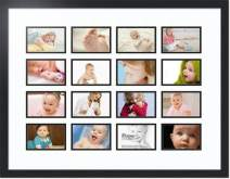 ArtToFrames Collage Photo Frame Double Mat with 16 - 4x6 Openings and Satin Black Frame