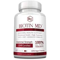 Biotin MD – Extra Strength Pure Biotin 10,000mcg for Improved Hair, Skin and Nail Health; 60 Vegan Tablets; Made in USA