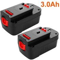 2 Pack Upgraded 3000mAh HPB18 Replacement for Black and Decker 18 Volt Battery HPB18-OPE 244760-00 A1718 FSB18 FS18FL 18V Firestorm Cordless Power Tools