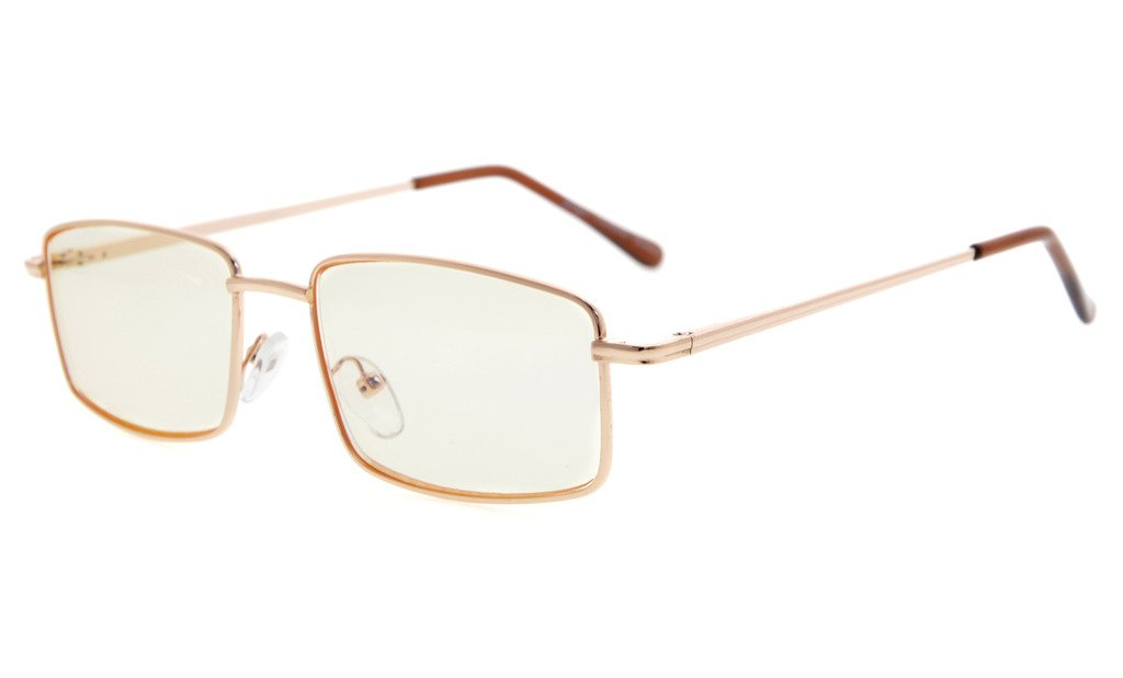 Eyekepper Spring Hinges Anti-Blue Ray/Anti-Strain Computer Reading Glasses (Gold/Amber Tinted Lens, 2.75)