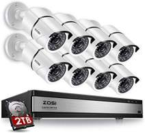 ZOSI 720p 16 Channel 8 Camera Security System,16 Channel Full HD DVR Recorder with 8 x 1280TVL(720p) Bullet Camera Outdoor/Indoor,Motion Detection and Remote Access Easily,2TB Hard Drive Installed