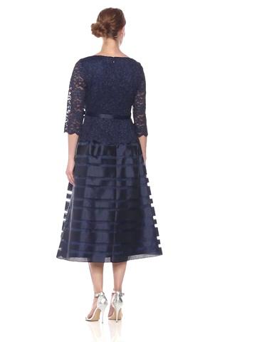 Alex Evenings Women's Tea-Length A-Line Dress with Tie Belt