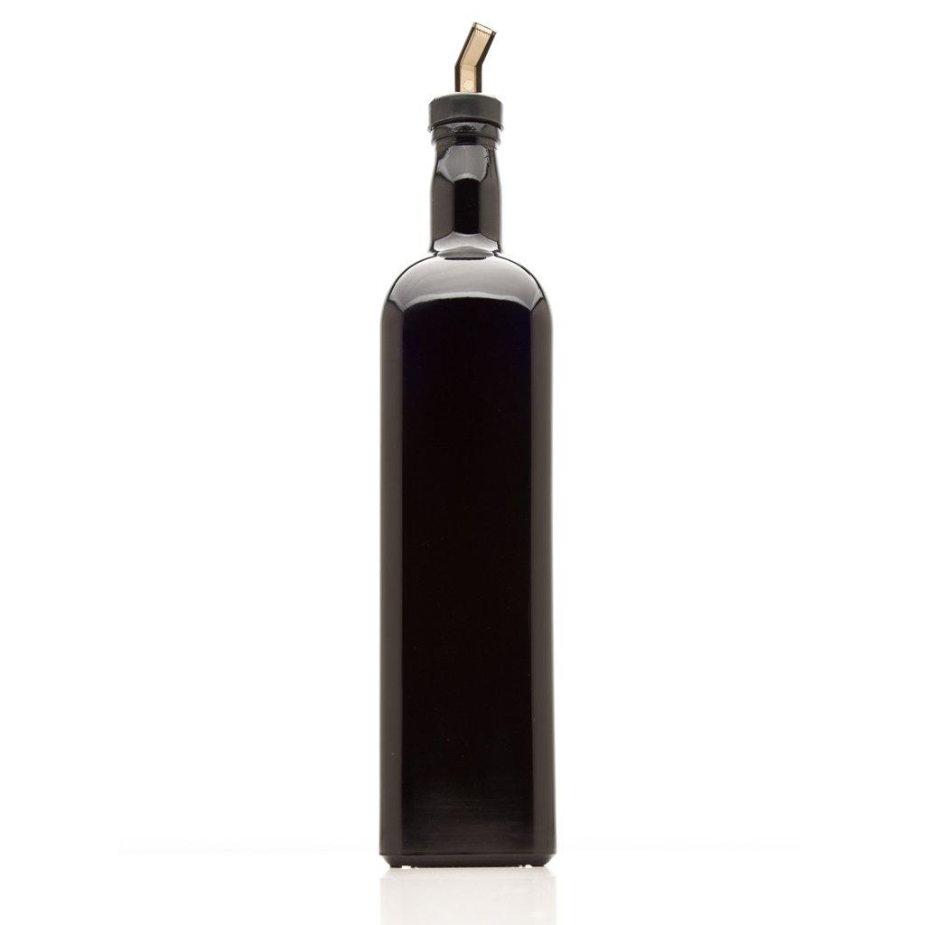 Infinity Jars 1 Liter (34 fl oz) Square Ultraviolet Glass Refillable Oil Bottle with Plastic Pour Spout (10-Pack)