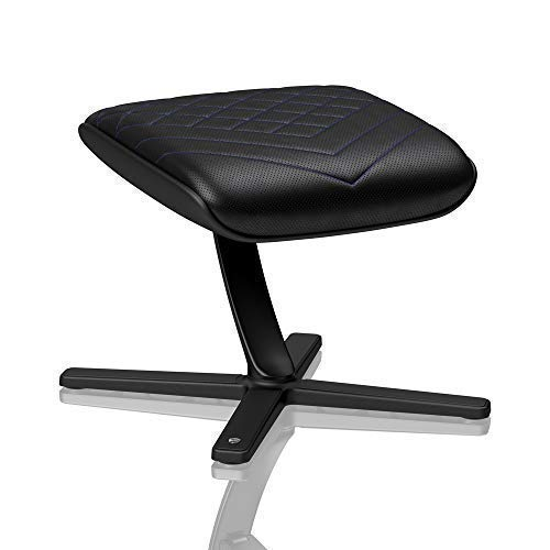 noblechairs Footrest for Gaming Chair - Office Chair - PU Leather - Footrest - Practical Adjustment - 360° Rotatable - 57° Tiltable - Black/Blue