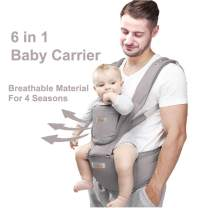 JooBebe Baby Carrier 6 in 1 Usage Front Back Infant Carrier, Soft Shoulder Strap Hip Seat Pad, 360 Ergonomic Protective, Breastfeeding Cover for All Seasons, 0-36 Months (Gray)