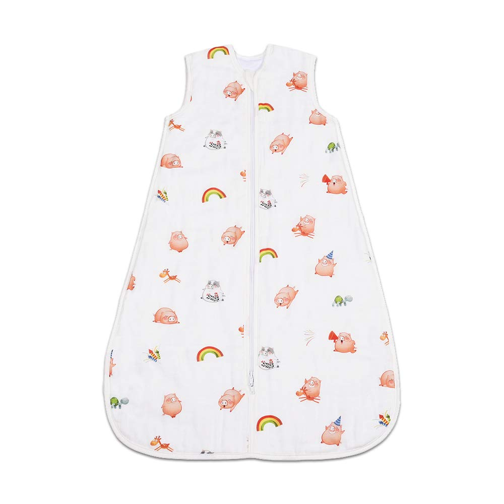 CHILDREN'S GANG Baby Sleeping Bag, Cotton Wearable Swaddle Blanket for Newborn 12 to 18 Month (Piggy)