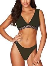 Cutiefox Women's Sexy High Waist High Cut Bikini 2 Piece Swimsuits