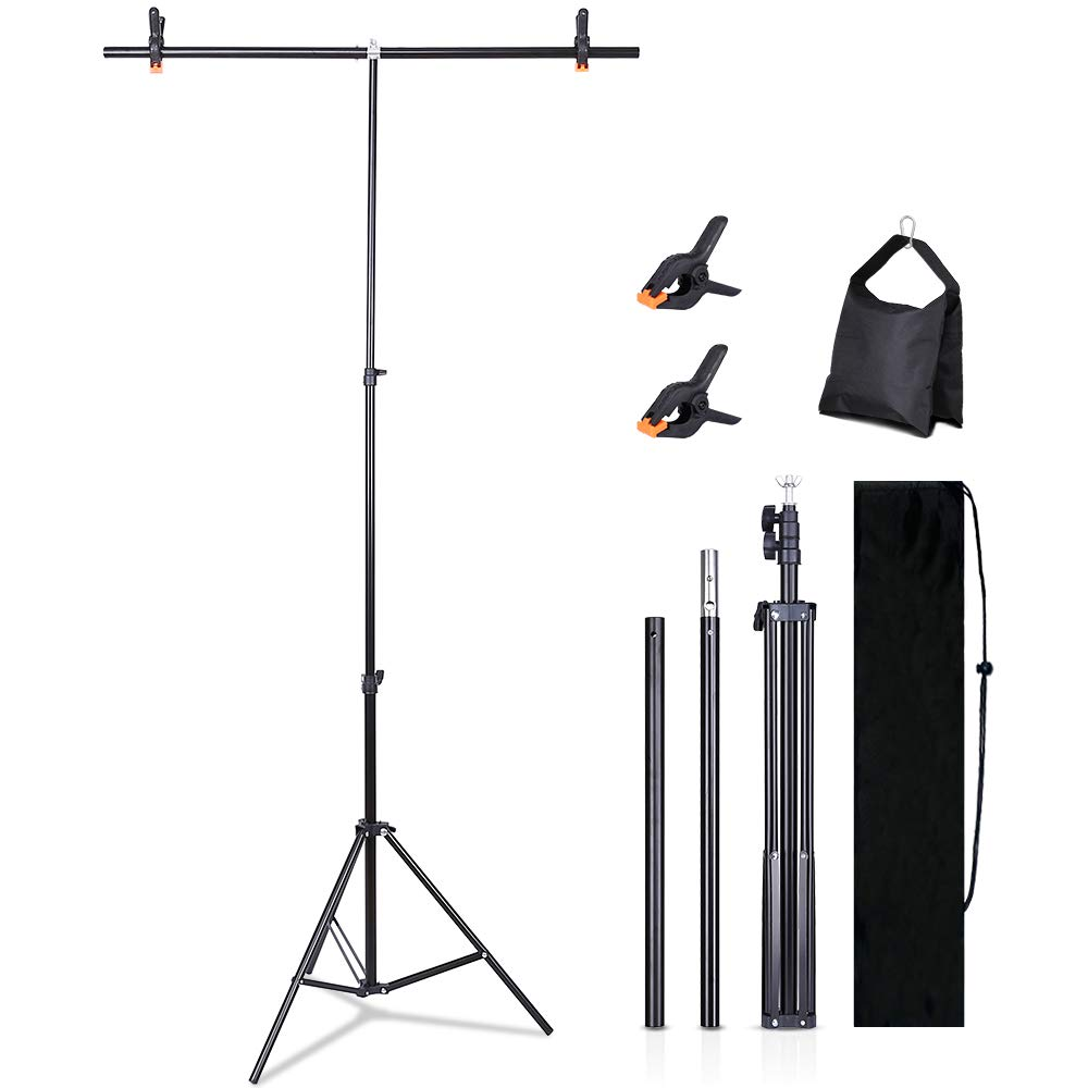 Kmhesvi Backdrop Stand for Photoshoot - 3.2x6.5ft T-Shape Backdrop Stand for Parties Adjustable T-Shape Tripod Stand with 1 Sandbag, 2 Spring Clamps, 1 Carry Bag (Backdrop NOT Included)