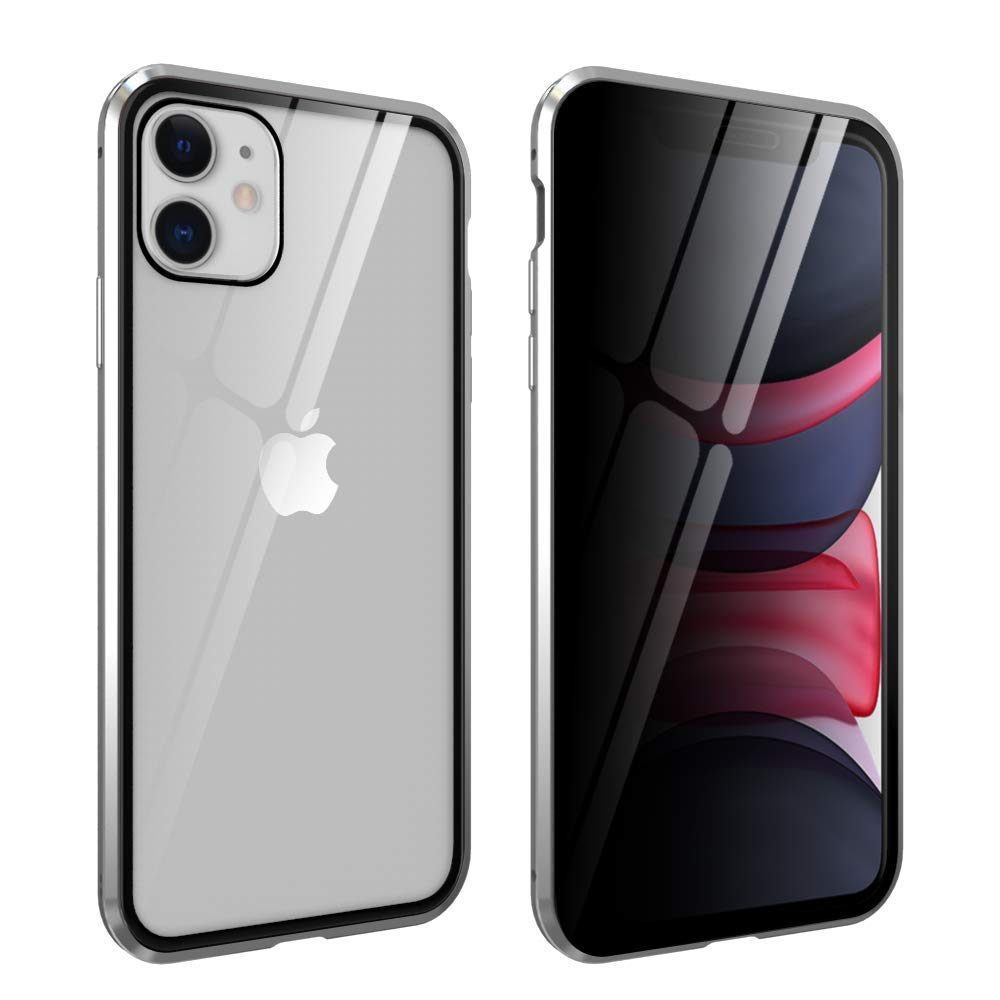 HYAIZLZ iPhone 11 Privacy Glass Case Double Sided 9H Glass Slim Mirror Metal Edge Magnetic Protective Case for iPhone 11 6.1inch,Silver
