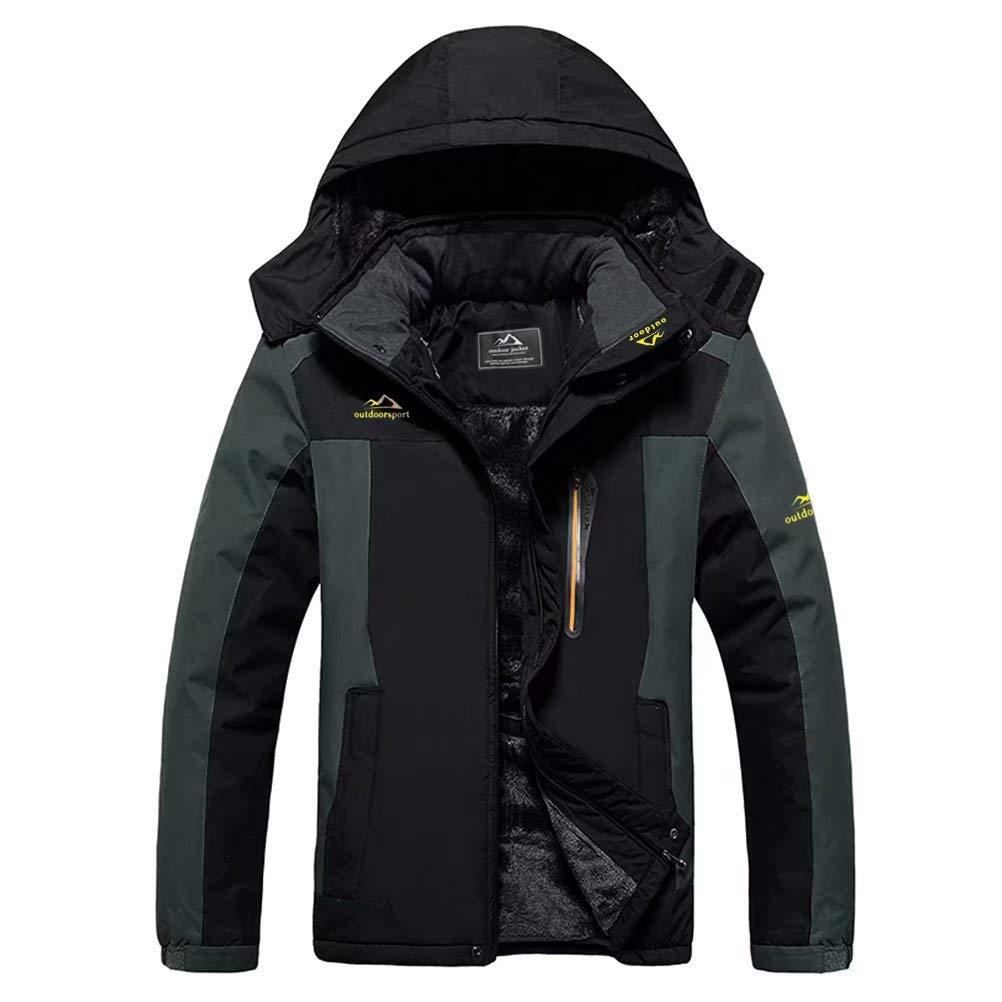 MAGCOMSEN Men's Winter Ski Jacket Waterproof Fleece Lined Windproof Warm Snow Jacket with Hood 4 Pockets