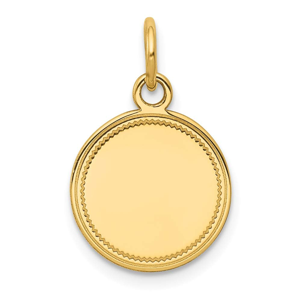 14k Yellow Gold .027 Gauge Engravable Round Disc Pendant Charm Necklace Lasered Etched Fine Jewelry For Women Gifts For Her