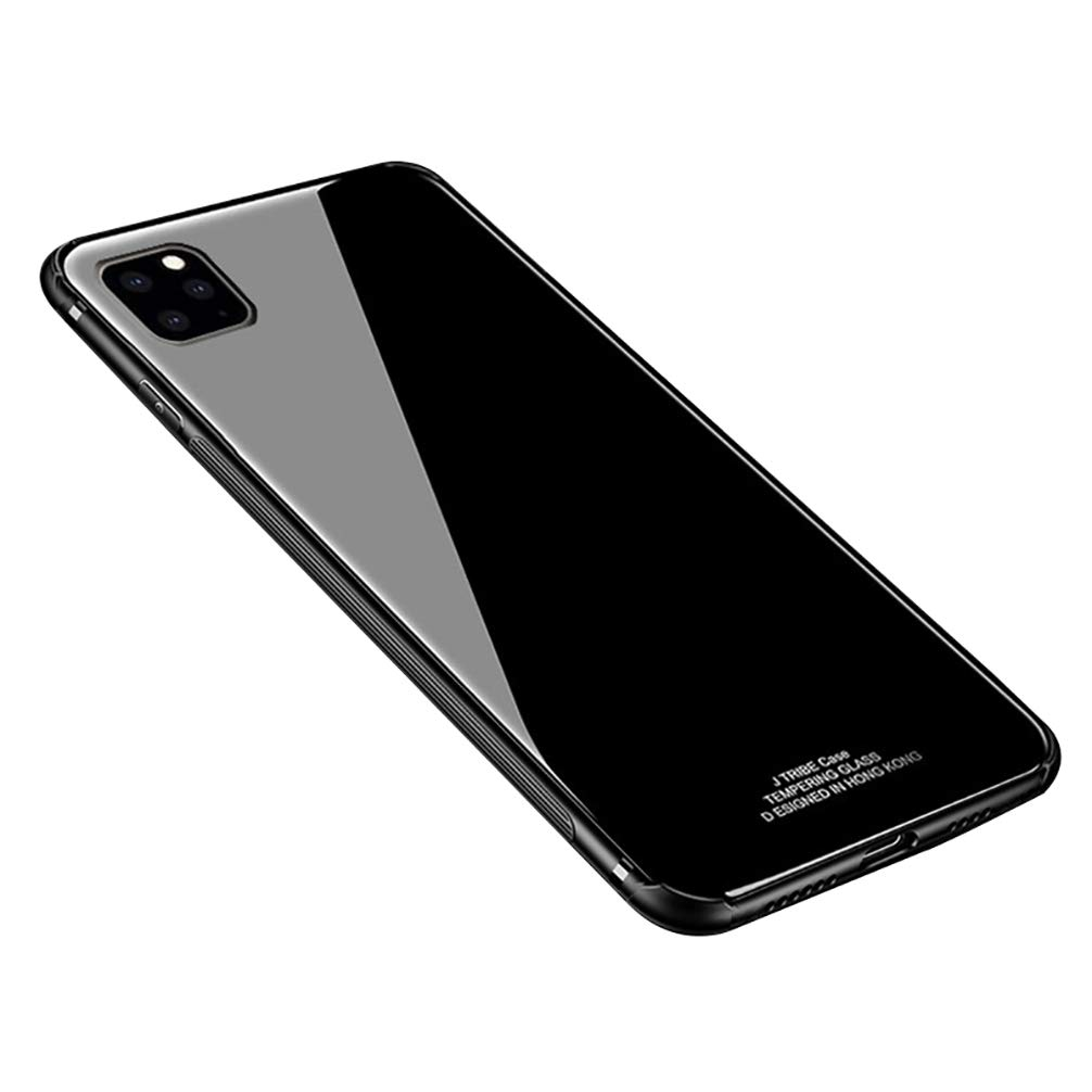Anyos Compatible iPhone 11 Pro Max Case, Ultra-Thin Tempered Glass Pattern Painted Back Cover + Soft TPU Bumper Full Body Shockproof Protective Case 6.5 inch, Black