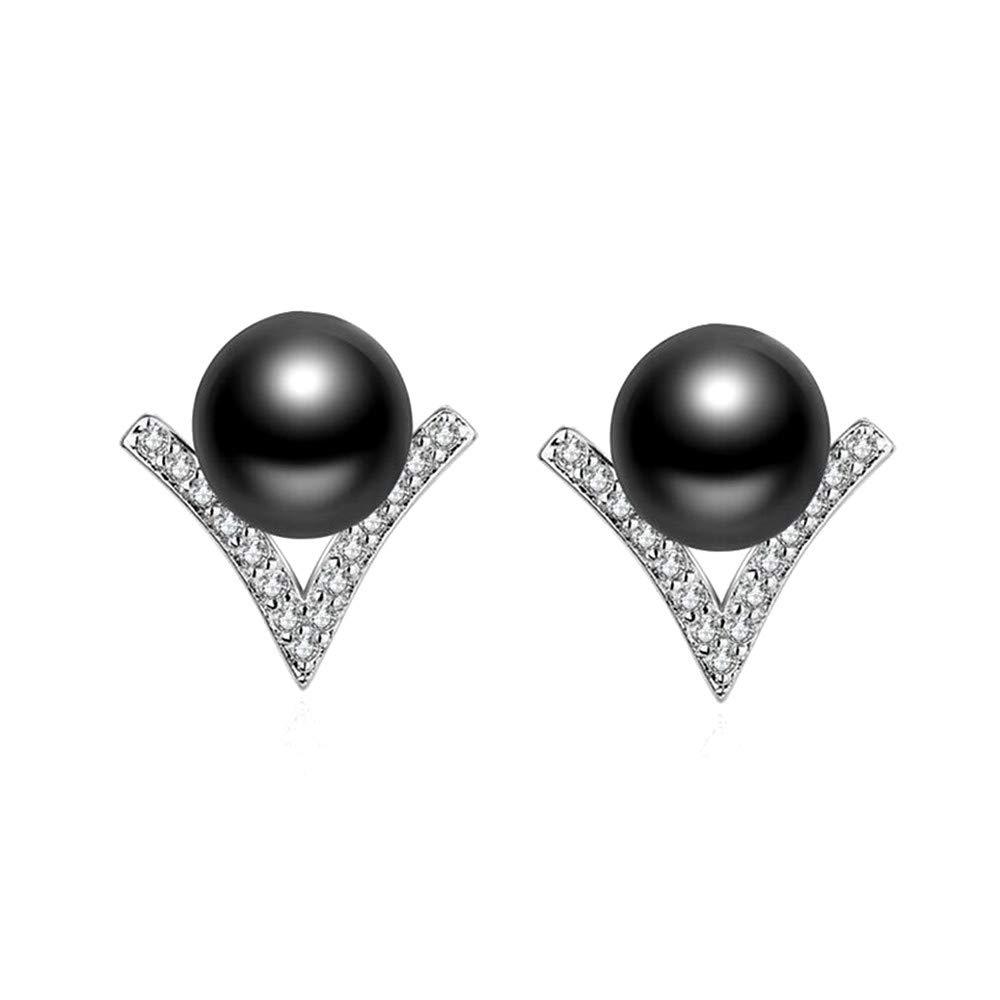 Uloveido V-Shape AAA+ Synthetic Pearl Stud Earrings Silver Plated Jewelry for Women Girls ED325
