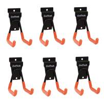 CoolYeah Slatwall Hooks Heavy Duty, Garage Storage Utility Double Hooks For Organizing Power Tools,Small U Hooks (pack of 6, 2 × 2.8 × 4.2 inches)