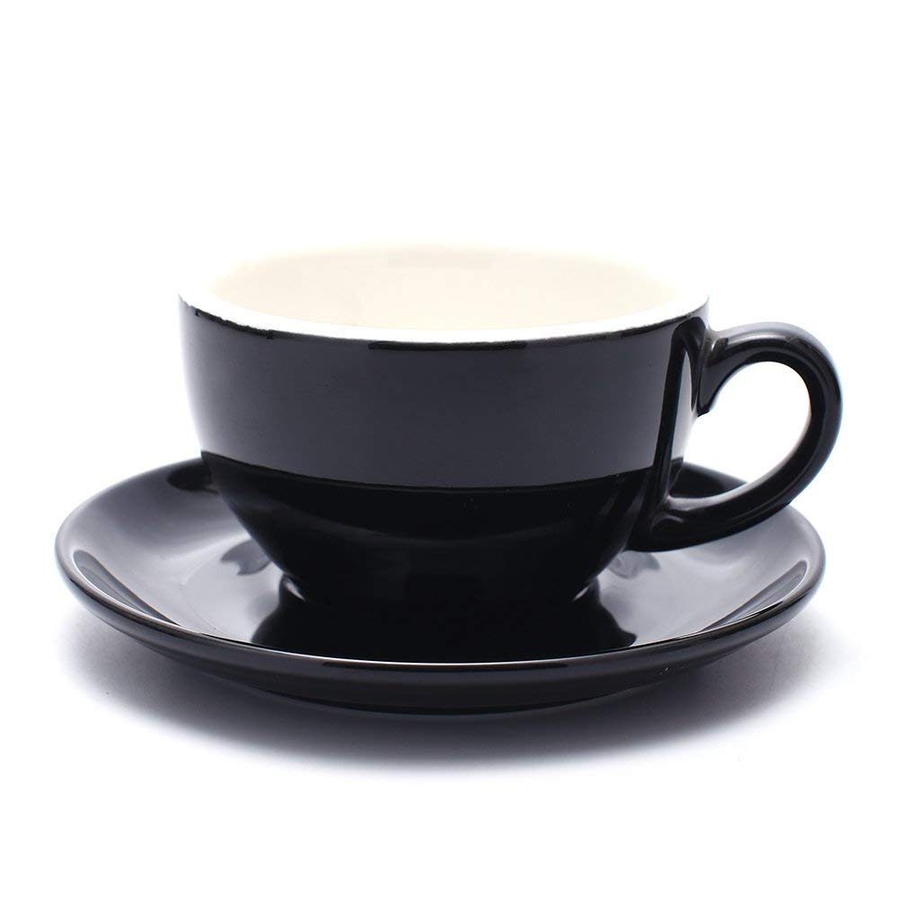 Coffeezone Latte Art Cup and Saucer for Latte & Cappuccino New Bone China, Mate for Coffee Shop and Barista (Glossy Black, 10.5 oz)