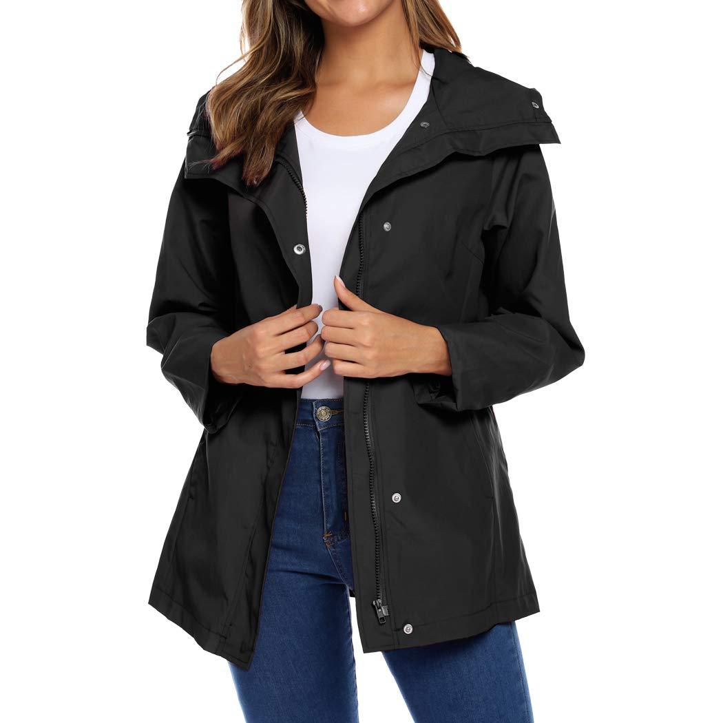Women's Raincoats Waterproof Rain Jacket Lightweight Hooded Windbreaker Active Outdoor Trench Coats