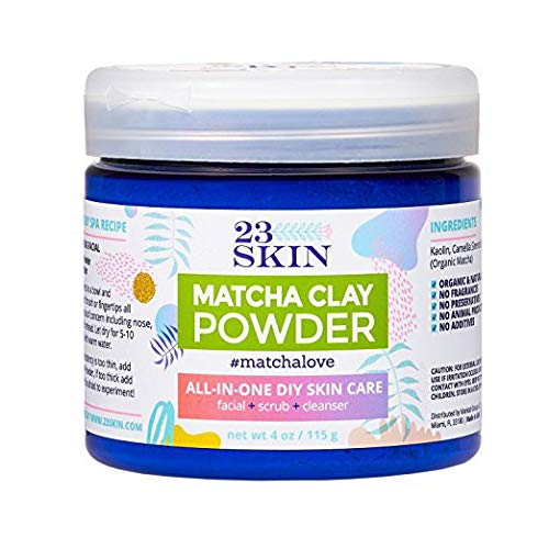 23 SKIN Matcha Green Tea Powder Face Mask with Kaolin Clay - Organic Anti-Aging Antioxidants + DIY Facial Scrub and Pore Cleanser - Absorb Oils and Impurities - 4 oz