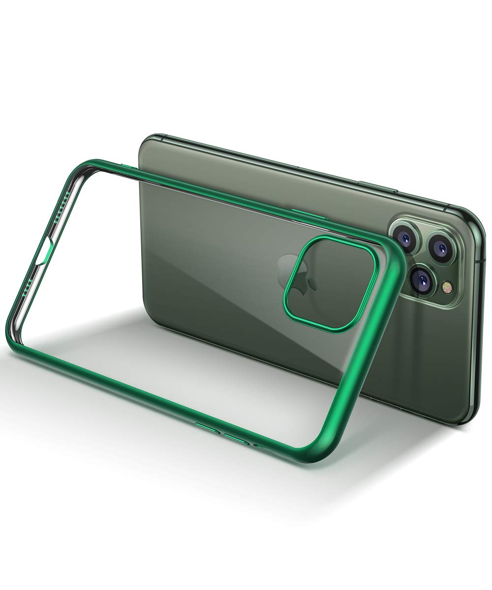 MOBOSI Clear iPhone 11 Pro Max case, Slim Fit Soft TPU Protective Cover Shockproof Anti-Scratch Cell Phones with Electroplated Frame Designed for Phone 11 Pro Max 6.5 Inch 2019 (Green)