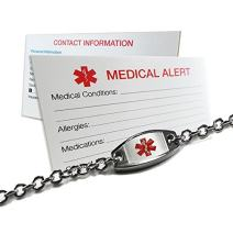 My Identity Doctor - Engraved DNR Small and Light Medical Alert Bracelet, Stainless Steel, ID Card Included