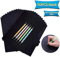 50 Sheets Carbon Transfer Paper,Black Carbon Copy Paper Tracing Paper with 5pcs Double-end Embossing Stylus for Wood,Paper,Canvas and Other Art Surfaces (8.3 x 11.7 inch)